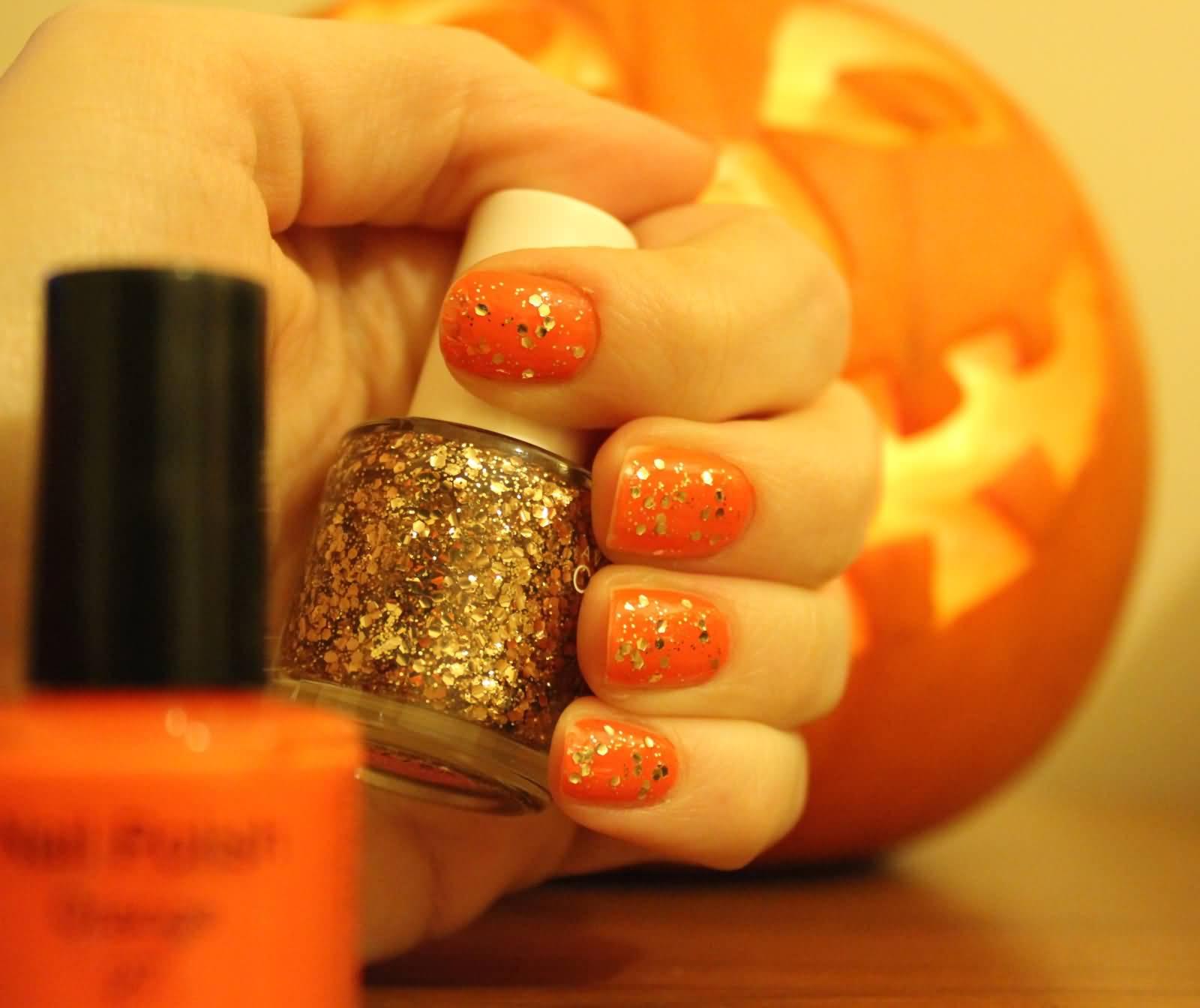 Orange Glitter Nail Art