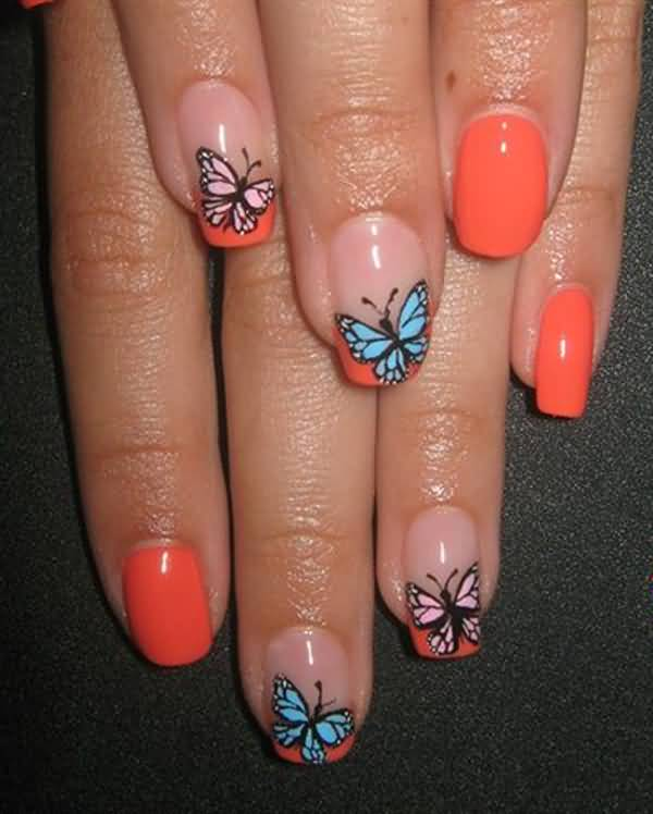 Orange Glossy Nails With Blue Butterfly Nail Art