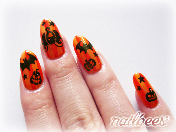 Orange Halloween Nail Art