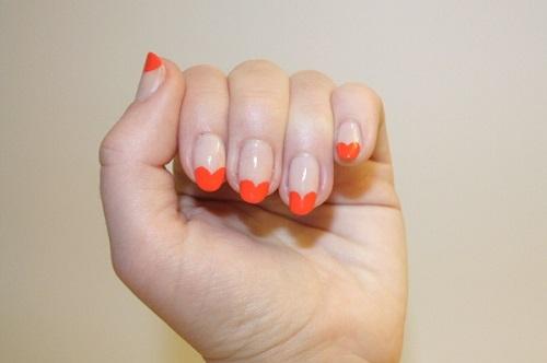 Orange Heart French Tip Nail Art Idea