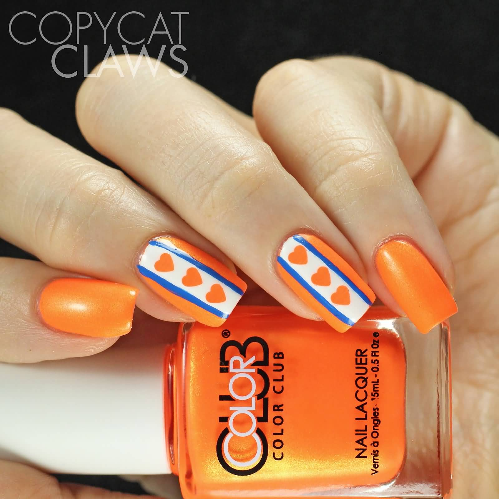 Orange Hearts And Blue Stripes Design Nail Art