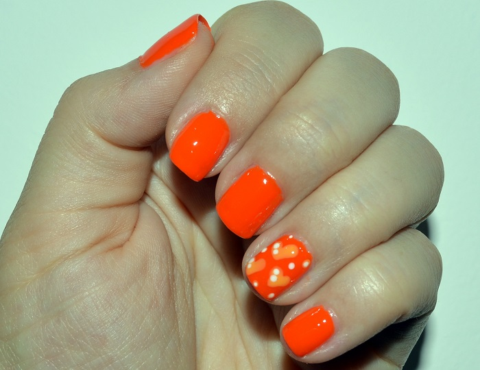 Orange Hearts Design Nail Art