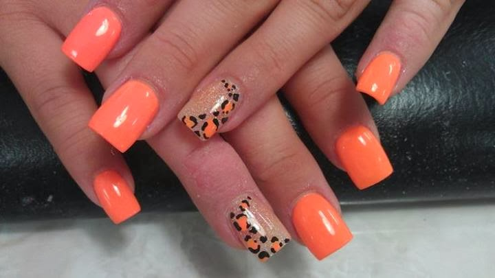 Orange Leopard Print On Glitter Gel Nails