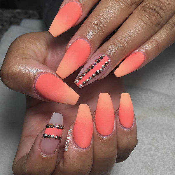 Orange Matte Ombre Nail Art