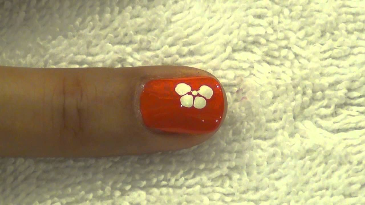 Orange Nail With White Flower Nail Art With Tutorial Video