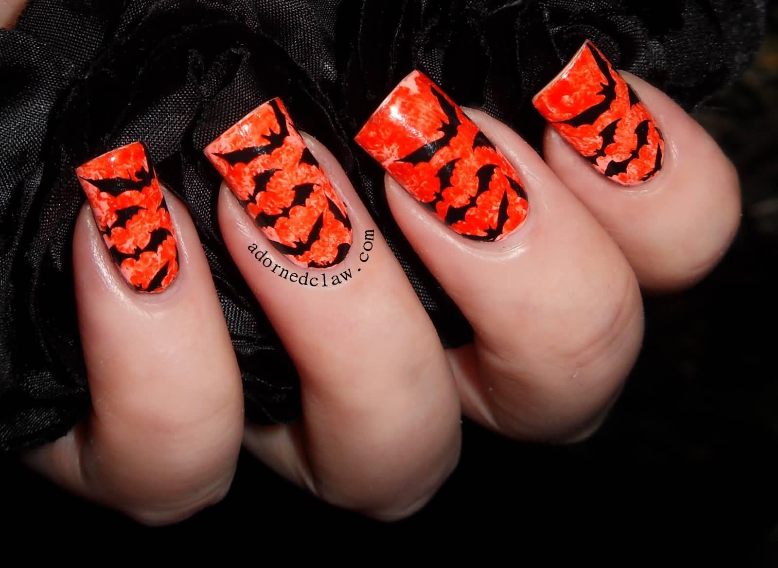 Orange Nails And Black Bats Nail Art