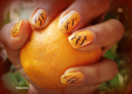 Orange Nails And Black Design Nail Art