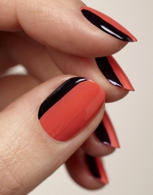Orange Nails And Black Strip Design Nail Art