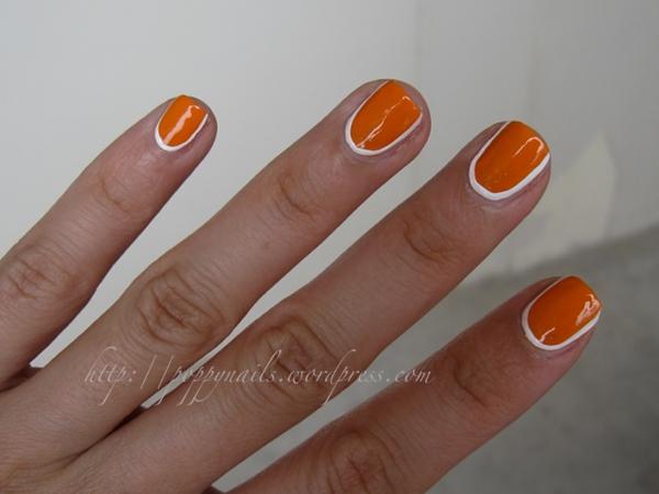 Orange Nails And White Border Design Nail Art