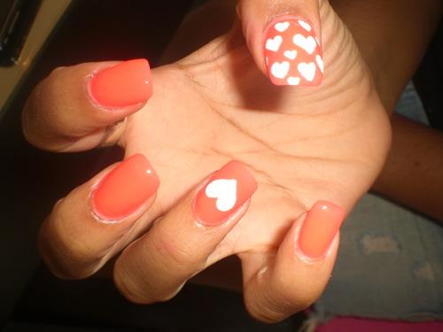 Orange Nails And White Hearts Design Nail Art