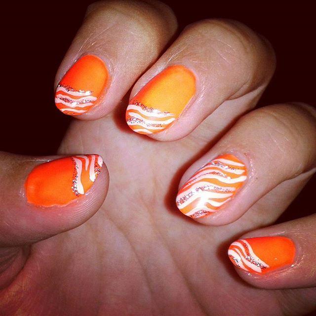 Orange Nails And White Waves Nail Art