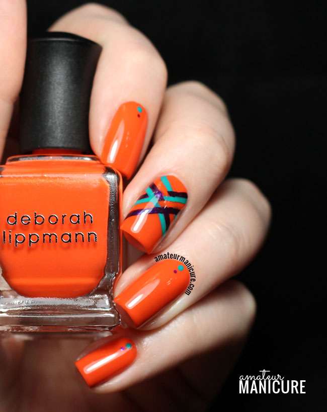 Orange Nails With Black And Green Lines Design Nail Art