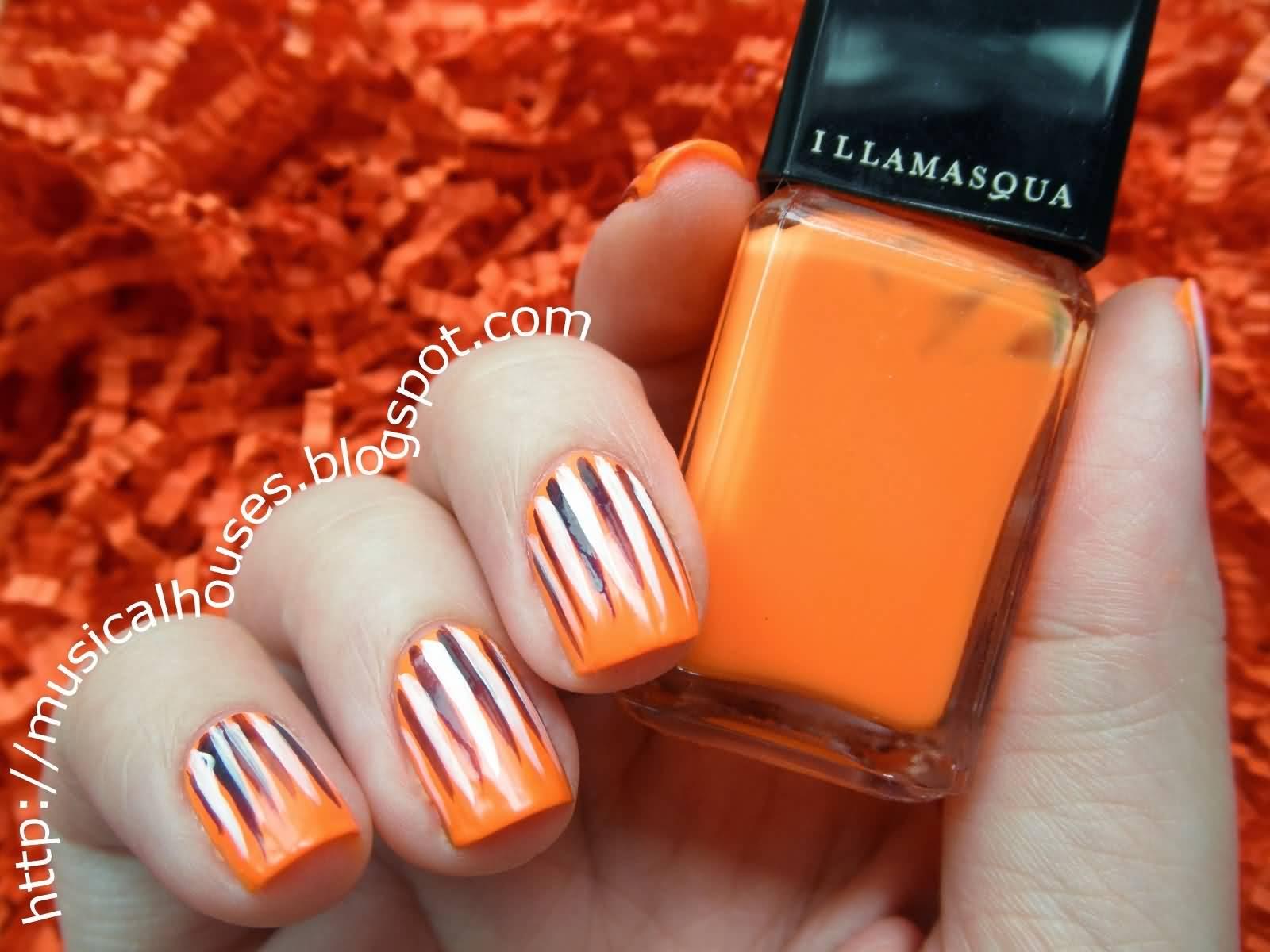 Orange Nails With Black And White Stripes Design Nail Art
