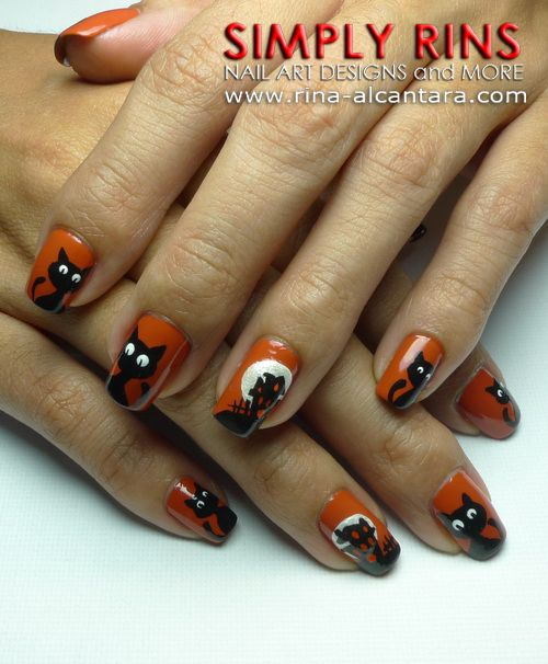 Orange Nails With Black Cat Halloween Nail Art
