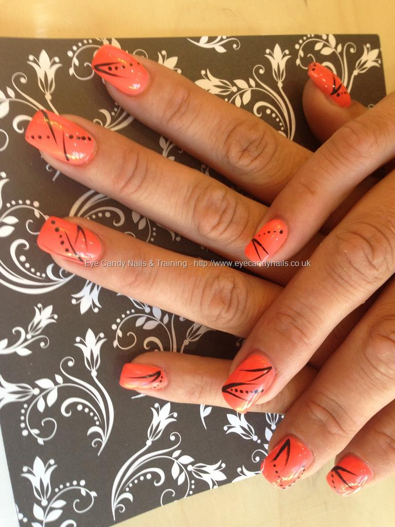 Orange Nails With Black Dots And Free Hand Stripes Nail Art