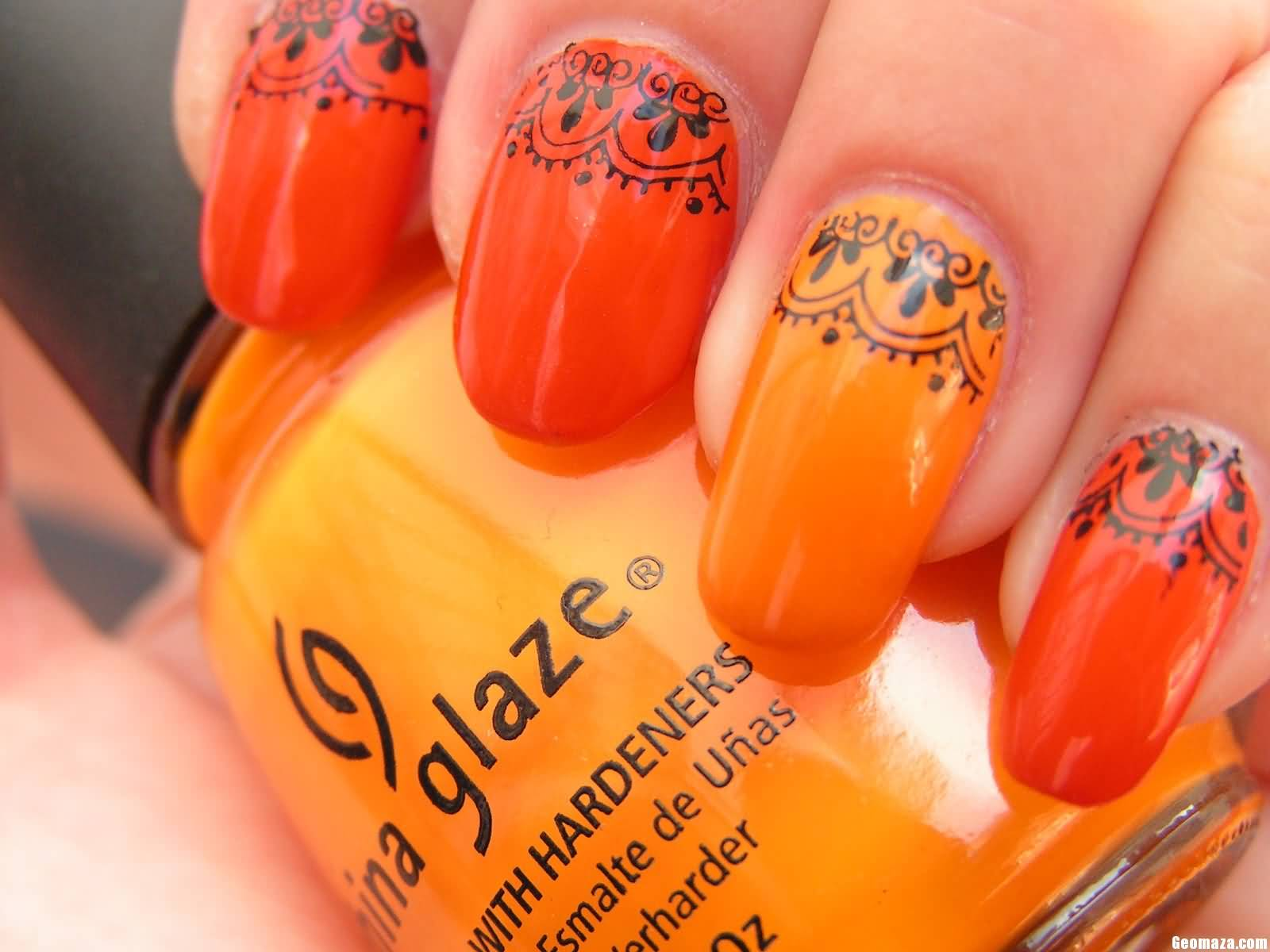 Orange Nails With Black Lace Design Nail Art