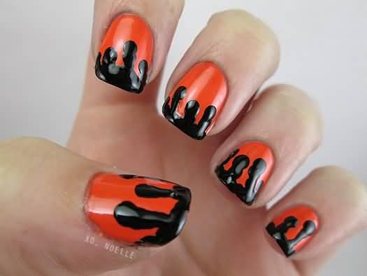 Orange Nails With Black Melted Color Tip Design Nail Art