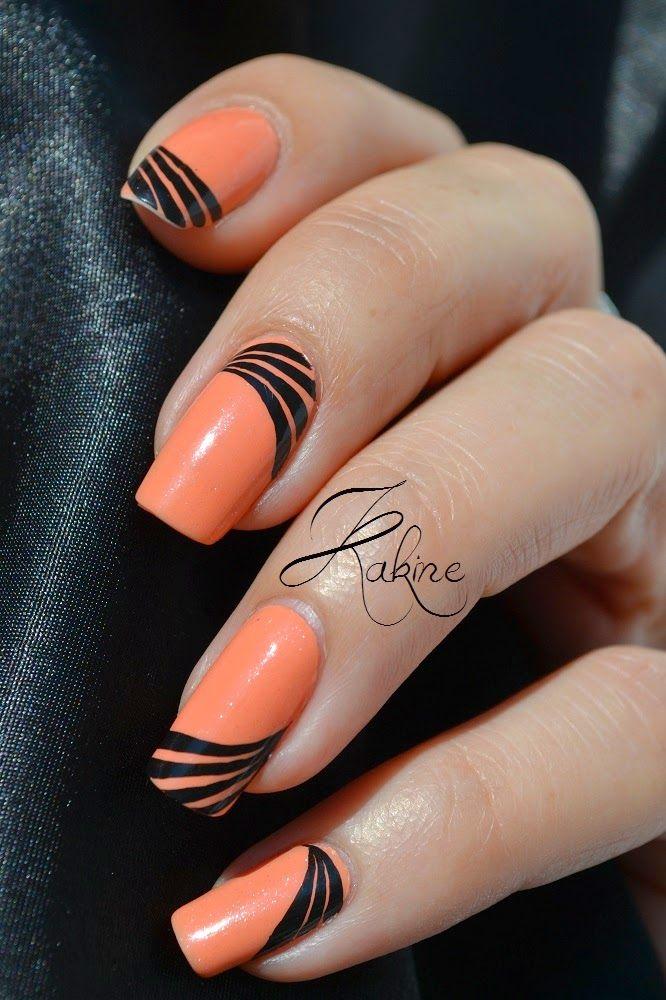 Orange Nails With Black Rays Design Nail Art