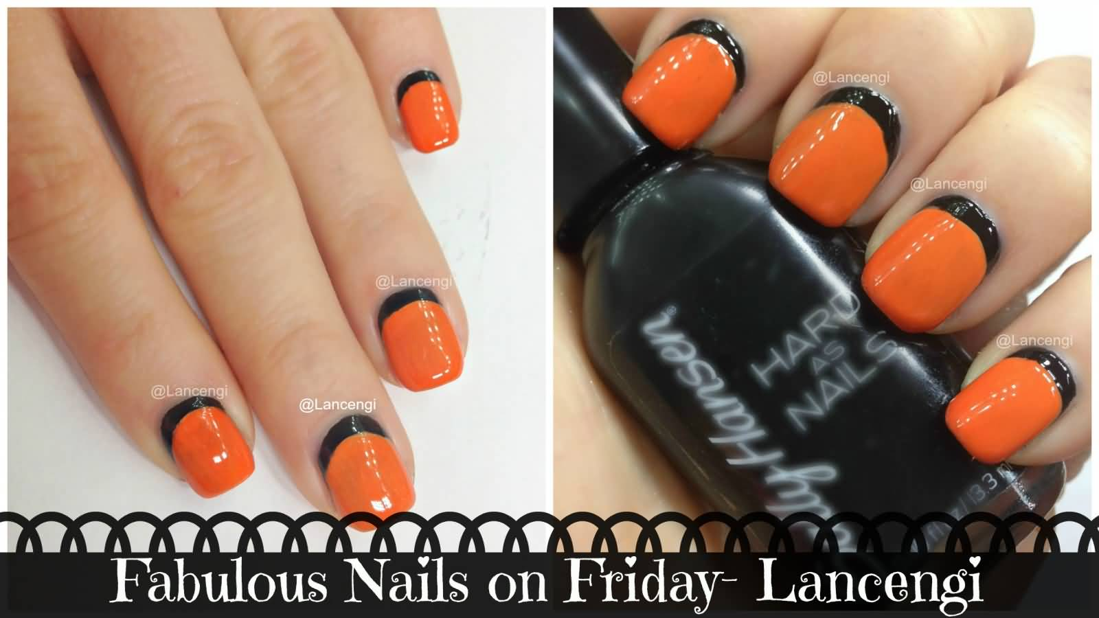 Orange Nails With Black Reverse French Tip Nail Art