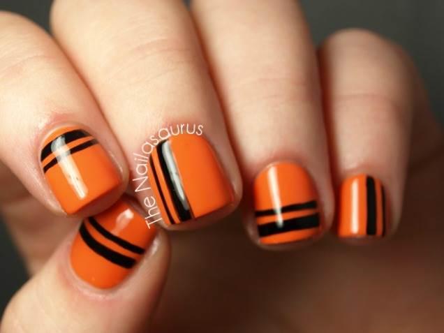 Orange Nails With Black Stripes Design Nail Art