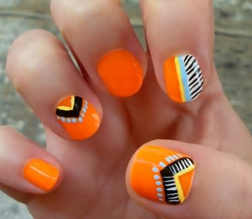 Orange Nails With Chevron Design Nail Art