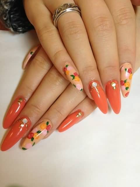 Orange Nails With Floral Design Nail Art