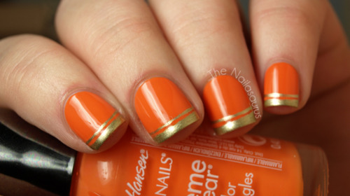 Orange Nails With Gold Tip Design Nail Art