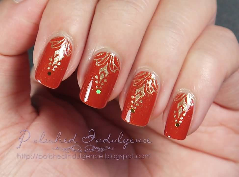 Orange Nails With Golden Design Nail Art