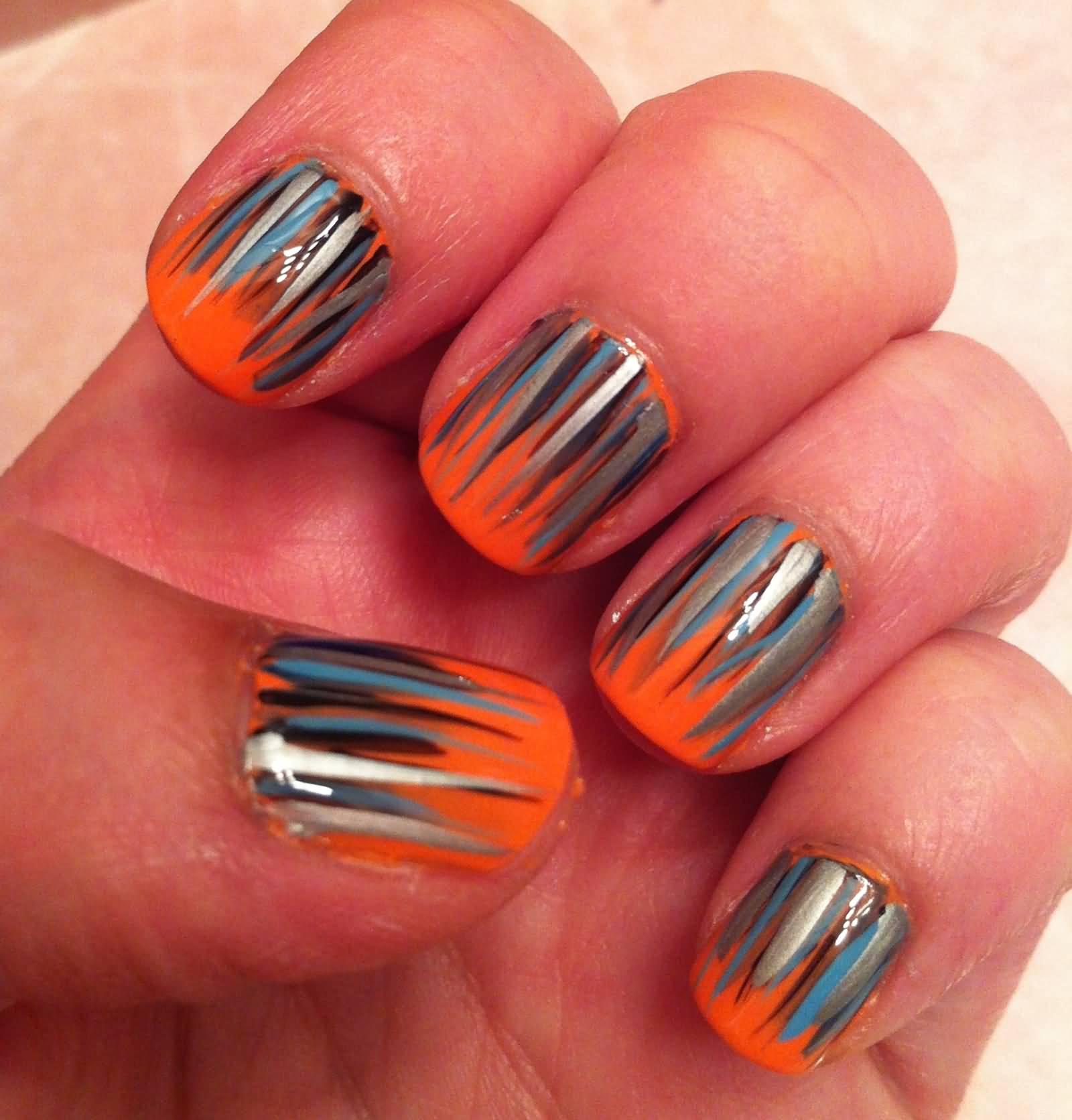 Orange Nails With Grassy Spikes Design Nail Art