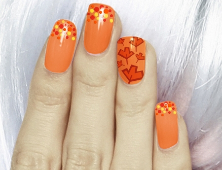 Orange Nails With Maple Leaf And Dots Design Nail Art Idea