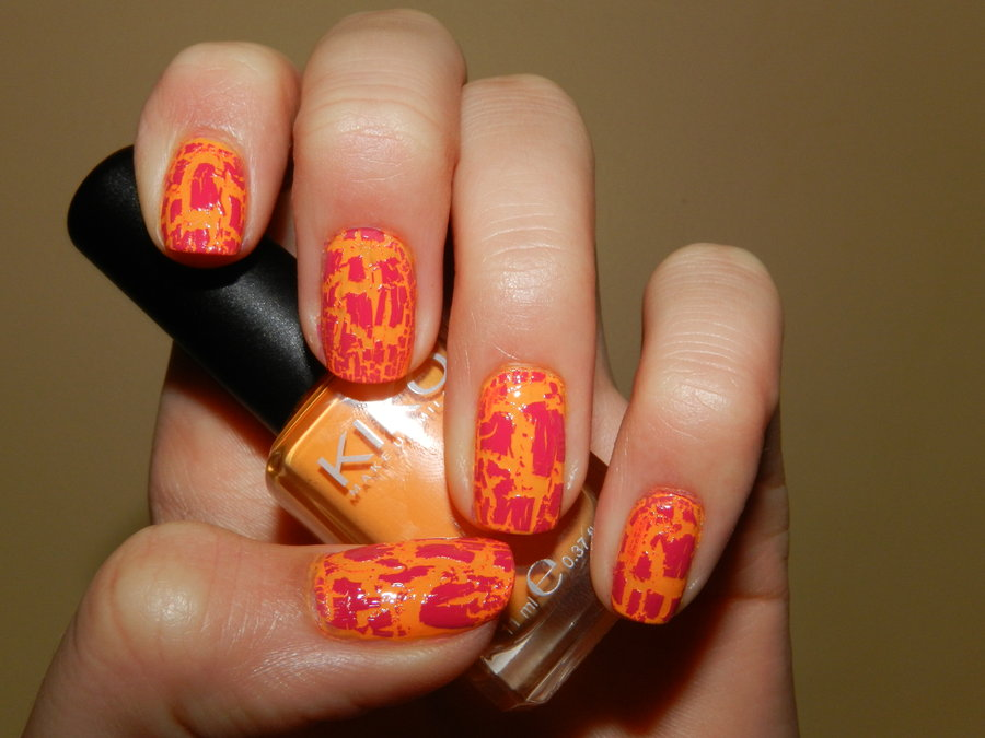 55 most beautiful orange nail art design ideas orange nails with pink color splatter nail art prinsesfo Gallery