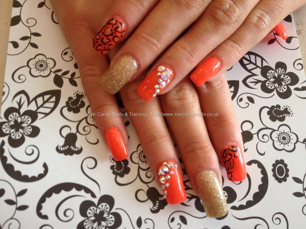 Orange Nails With Rhinestones Design Nail Art