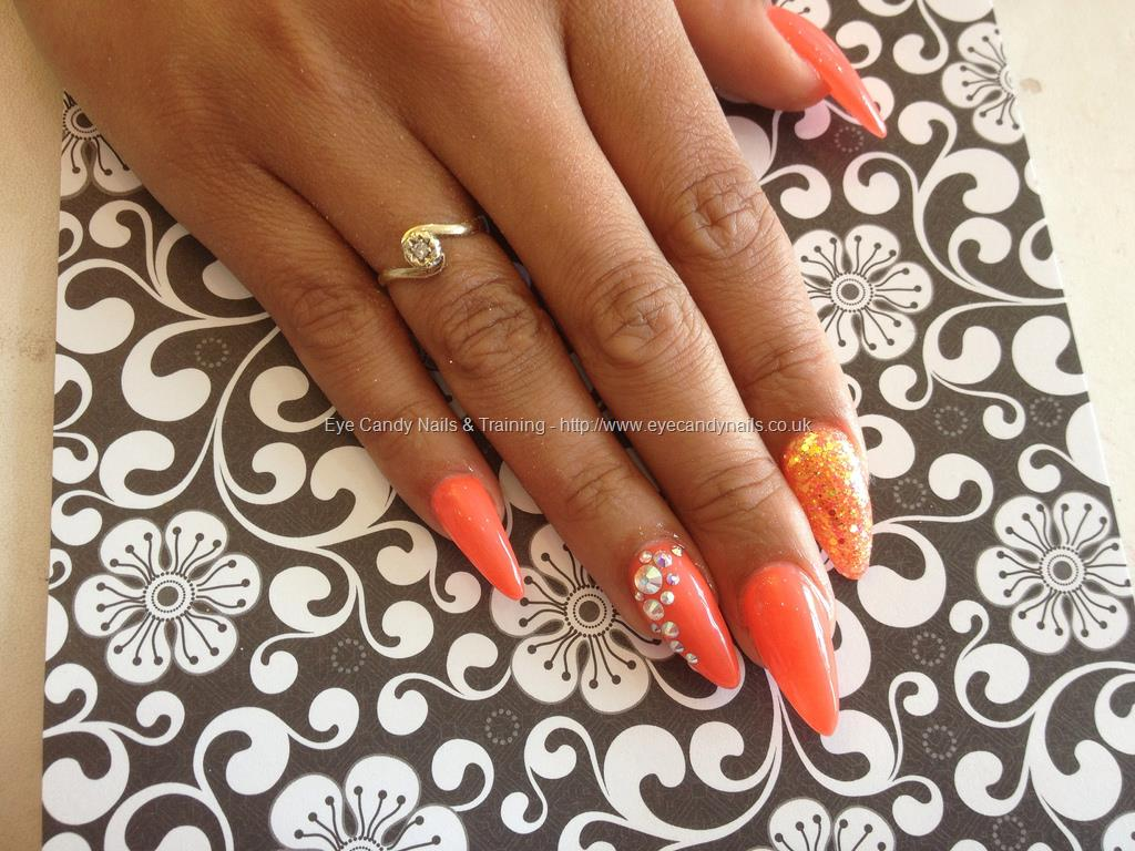 Orange Nails With Rhinestones Nail Art