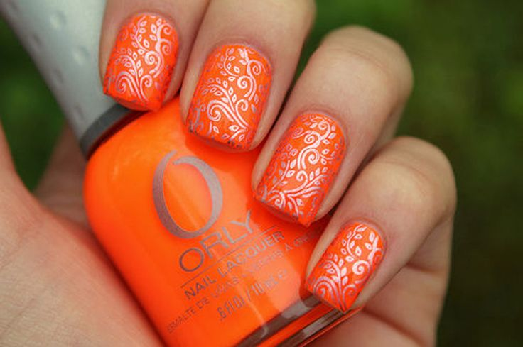 Orange Nails With Silver Flowers Stamping Nail Art