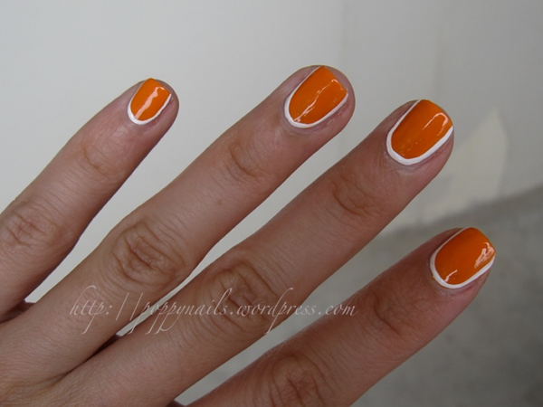 Orange Nails With White Border Design Nail Art