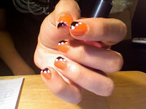 Orange Nails With White Diagonal Dots Design Nail Art Tutorial Video