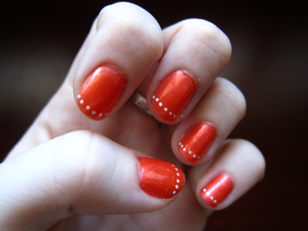 Orange Nails With White Dots Design Nail Art