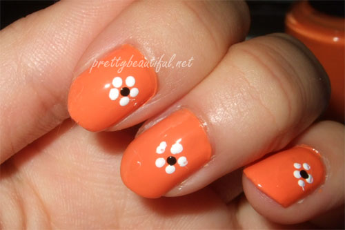 Orange Nails With White Dots Floral Design Nail Art