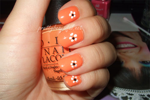 Orange Nails With White Flowers Nail Design Idea