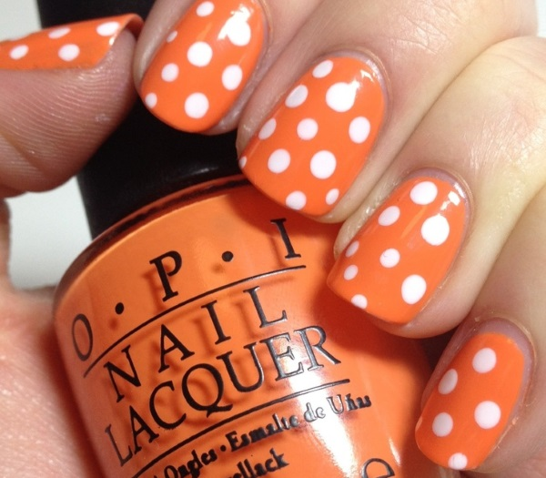 Orange Nails With White Polka Dots Nail Art Design