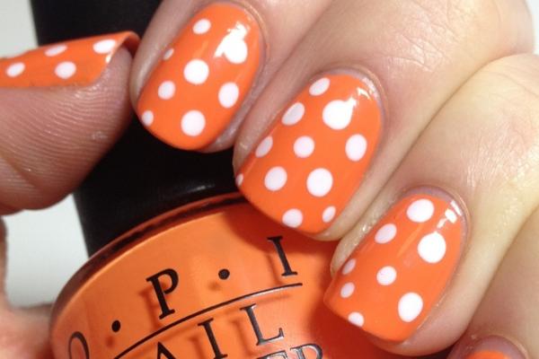 Orange Nails With White Polka Dots Nail Design