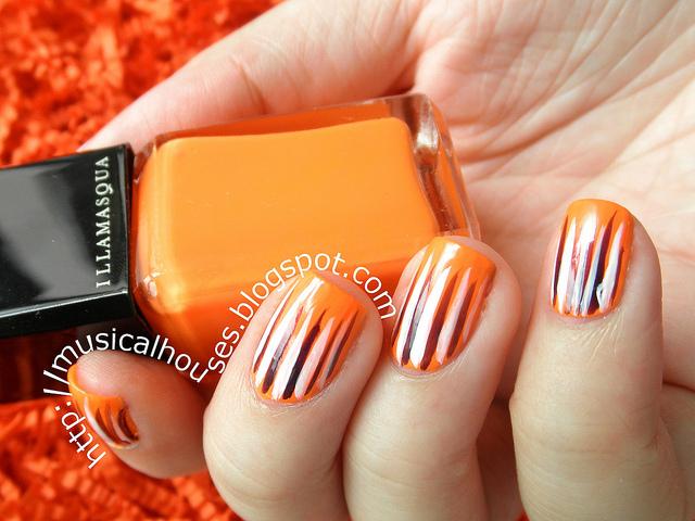 Orange Nails With White Stripes Design Nail Art