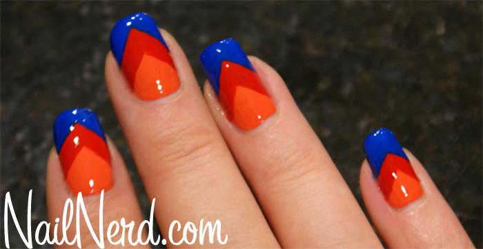 Orange Red And Blue Chevron Design Nail Art