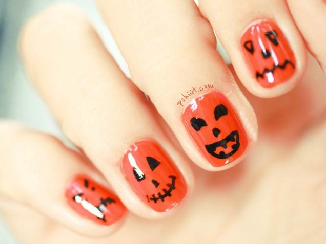 Orange Scary Faces Halloween Nail Art