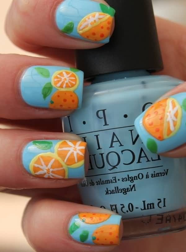 Orange Slices On Blue Nails Design Idea