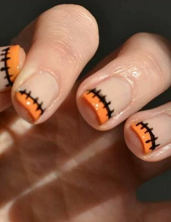 Orange Stitches Design Tip Nail Art