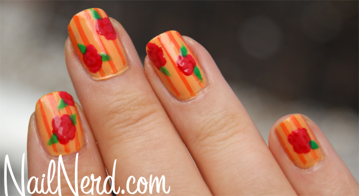 Orange Stripes And Rose Flower Nail Art