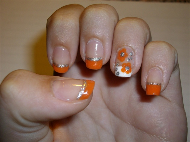 Orange Tip And Flowers Design Nail Art