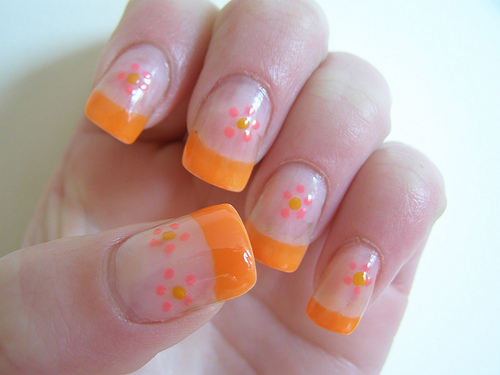 Orange Tip And Pink Dot Flowers Nail Art