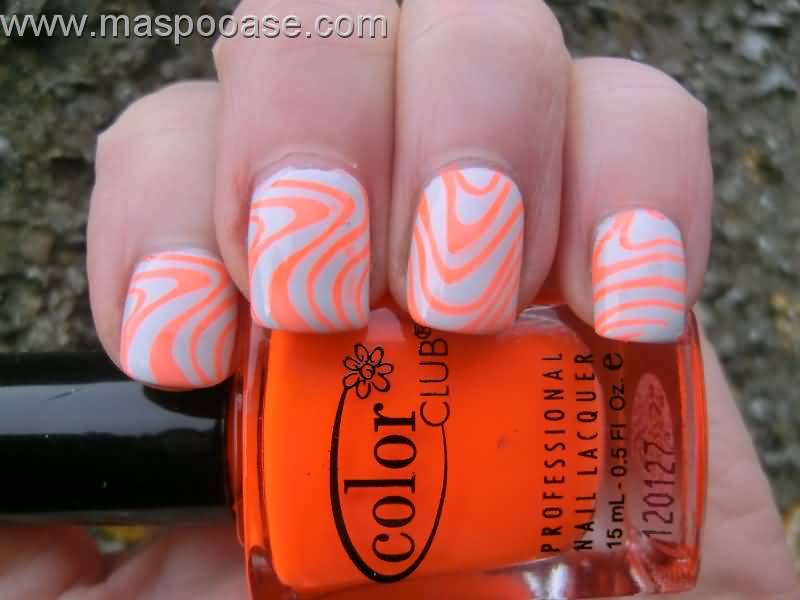 Orange Waves Lines On White Nails